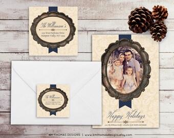 Vintage Frame Return Address Label: Square Label - Holiday Return Address Label - Navy Christmas Label - Return Address Sticker - WH144