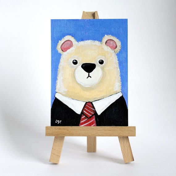 Original ACEO, Polar Bear wearing Black Suit and Tie, Business Bear - Whimsical Art Illustration