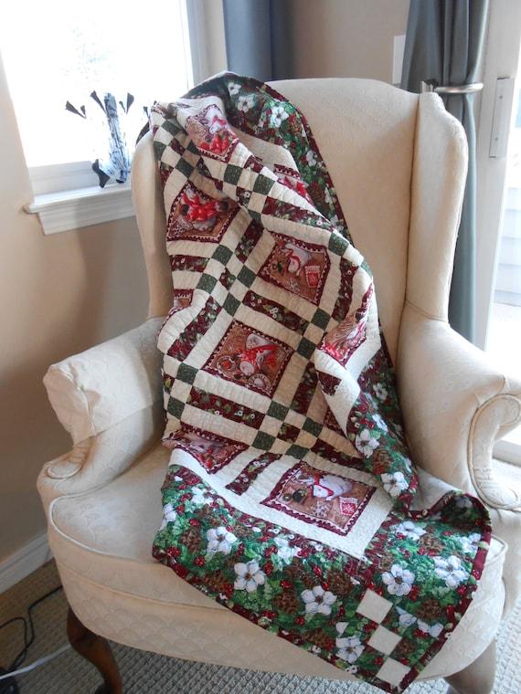 Handmade quilt, Holiday quilt, Christmas quilt, Snowman Quilt, Throw, Lap Quilt, Patchwork Quilt, Modern Quilt, Homemade Quilt, Flannel