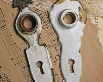 White Chippy Paint ESCUTCHEON Plates (2) Old Door Hardware- Cottage Chic- Brass Door Plates- Painted Metal- Distressed