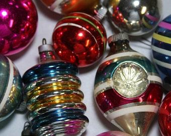 Vintage CHRISTMAS Ornaments- Shiny Brite- Glass Bulbs- Striped Balls- Retro Holiday Tree Decor