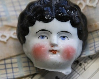 Large Antique Painted Doll Head from Germany- European Frozen Charlotte- Found Object Doll Parts