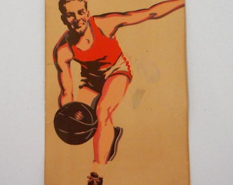 Vintage Basketball Poster Advertisement Athlete Wall Decor Athletic Gym Player Ball