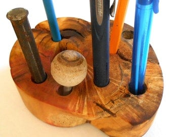 Wood Pencil holder, Flame Box Elder burl, pen, tool holder, desk, office organizer, Natural wood