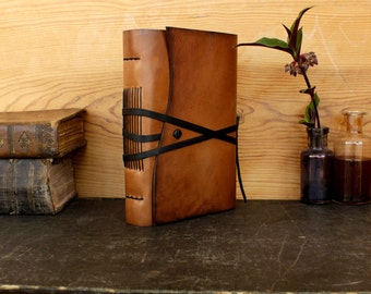 Leather Journal or Notebook, Brown Antiqued Leather, FREE MONOGRAMING - The Traveler