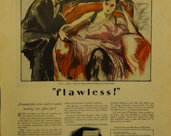 1928 Woodbury Soap Ad Gorgeous Artwork Flapper Woman with Gentleman Friend