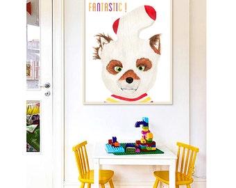 Fantastic Mr Fox: PRINTABLE FILE 3 versions, wes anderson print, Ash fox, nursery prints, kids room decor, fox print, playroom prints art