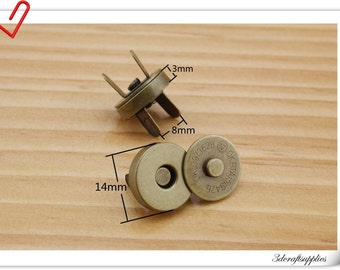 14mm anti gold  Magnetic Snaps Per Bag of 20 Sets Magnetic Fastener   F2