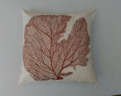 Brown coral fan pillow. Off  white pillow cover with brown coral. Seatheame pillow. Notical throw pillow. Beach decor. 12x 12 to 22 inches