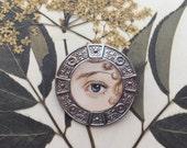 Hand-painted Eye Miniature Portrait Brooch Original Watercolor Pin Lover's Eye Romeo and Juliet