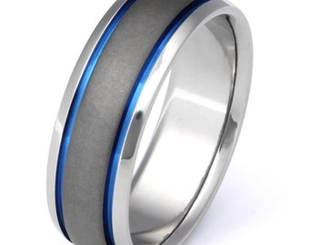 Titanium Wedding Band - Custom Sable Finish - Blue Stripes - sa21
