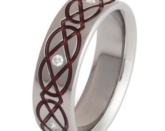 Celtic Titanium Wedding Band  - Titanium Diamond Ring - Red Infinity - ck43Red