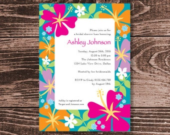 Luau Invitation for Bridal Shower or Birthday Party – DIY Printable Personalised – Tropical Flower Border (Digital File)