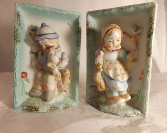 FREE SHIPPING vintage bisque girl and boy 3-D figurines wall plaques (Vault 14)