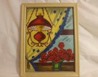 FREE SHIPPING vintage picture lovely lamp and flowers art  (Vault 16)
