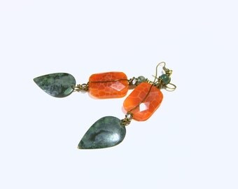 Long Agate Earrings Boho Chic Orange Fire Crab Jewelry for Women Top Selling Jewelry Most Popular Jewelry Gift Ideas Earrings