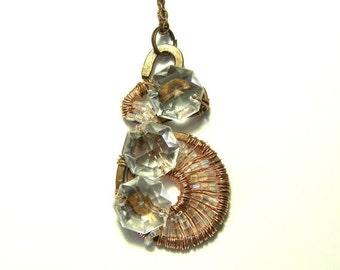 WinterSale Crystal Spiral Pendant, Metaphysical Pendant, Spiritual Jewelry, Hippie Jewelry, Tribal Jewelry, Gift Ideas, Bohemian Jewelry, Et