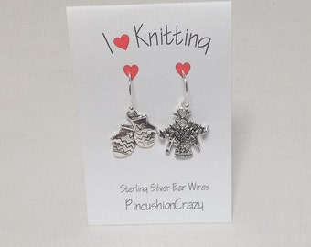 I love Knitting -  Earrings for Knitters - Sterling Silver Ear Wires - Dangle Earrings  - Sewing Gift - Girlfriend Gift - Mitten Earrings