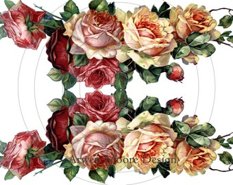 Beautiful Vintage Chic Shabby Rose Pink Roses Border Spray Tea Roses Waterslide Water Slide Iron On Transfer Miniature Craft Decals ro-207