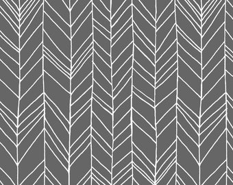 Feathers Fabric - Featherland Gray/White By Leanne Hatch - Minimalist Modern Gray Home Decor Cotton Fabric By The Yard With Spoonflower