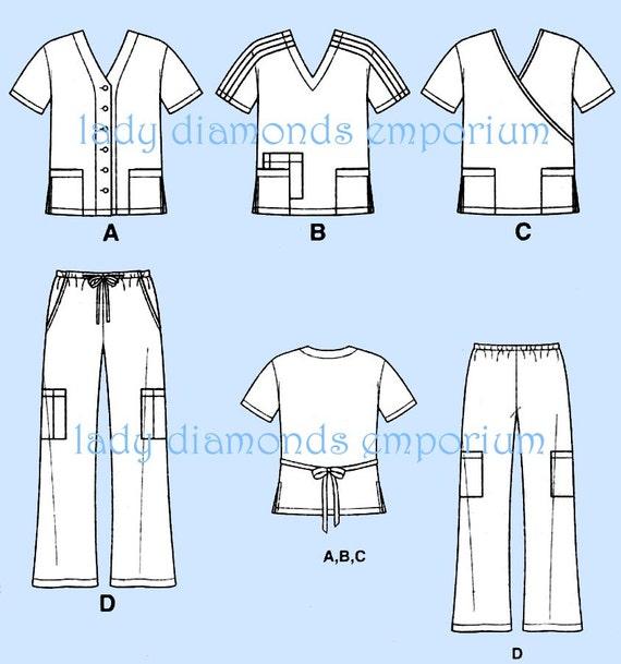 Simplicity 4101 Men & Womens Scrubs Tops 3 Styles Pants