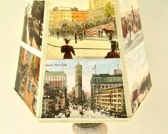 NYC Lamp Shade Postcard Lampshade, Vintage New York City Post Cards, 5x10x7 clip