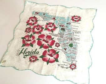 Vintage Florida handkerchief hankie teal blue with hibiscus flowers mint with original tag souvenir map