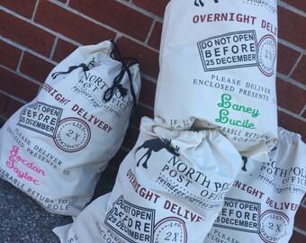 Santa sack , personalized christmas bag , north pole bag ,  christmas bag , santa claus sack , personalized santa bag, EMBROIDERED