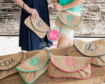 OVERSTOCK SALE- Burlap Bridesmaid wristlets , burlap clutch, bridesmaid clutch, rustic wedding, bridesmaid gift , monogrammed gifts