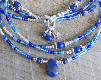 Indigo Blue Lapis Wrap Healing Gemstone Bracelet and Necklace, Sterling Silver and Seed Beads