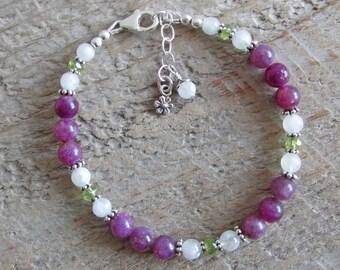 Purple Lepidolite Moonstone Peridot Sterling Silver Healing Gemstone Bracelet
