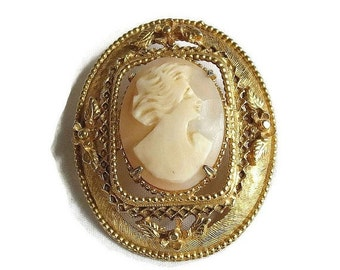 Vintage Carved Shell Lady Cameo Brooch or Pin signed Geno
