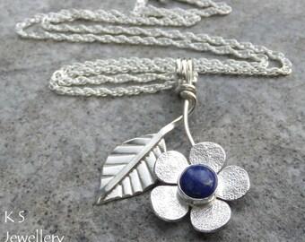 Lapis Lazuli Flower and Leaf Sterling Silver Pendant - Gemstone Flower - Handmade Metalwork Wirework Jewelry - Garden Floral Petals Blossom