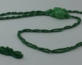 Vintage Green Beaded Asian Inspired Necklace
