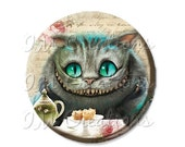 "BIG SALE - Pocket Mirror, Magnet or Pinback Button - Wedding Favors, Party themes - 2.25""- Alice In Wonderland Cheshire MR270"