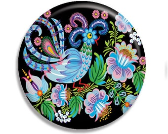 "Russian Folk Art Rooster Country Pocket Mirror, Magnet or Pinback Button - 2.25"" MR568"