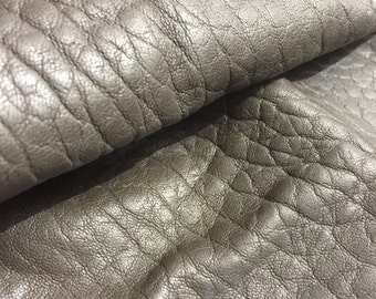 Dark brown distressed lambskin leather - a 5 square foot hide