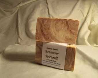 Rasberry Patchouli Olive Oil Goat Milk Soap with Shea butter