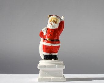 Vintage Santa Claus on Chimney, Santa Figurine, Inarco Japan, Vintage Christmas Decor