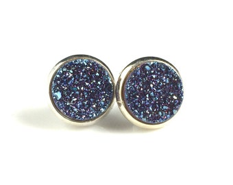 Blue Druzy Drusy Post Stud Earrings in Silver Bezel Cup Setting with Titanium Posts
