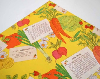 Vintage 1975 Any Occasion Wrapping Paper   Yellow Gift Wrap Beef Stew Recipe Kitchen Gift Wrapping Paper