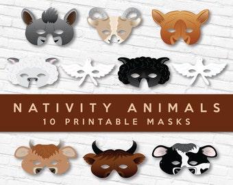 Nativity Animals 10 Mask Set   Theater Masks   Play Props