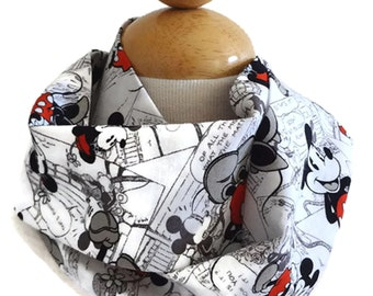 Baby infinity scarf, baby drool bib, toddler drool bib, baby girl bib, baby boy bib, trip to Disney, Minnie Mouse scarf, Mickey Mouse scarf