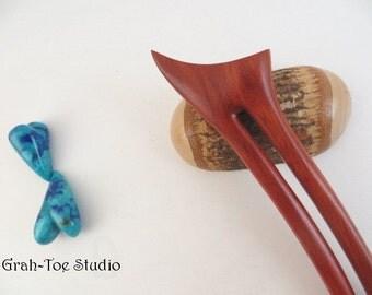 Red Heart Wood Hair Fork,A2 Prong Hairfork,Hair Stick,Gift for her, Man Bun,Grahtoe Studio,Hairstick,hairforks,Wood Hair Sticks,Wooden forks
