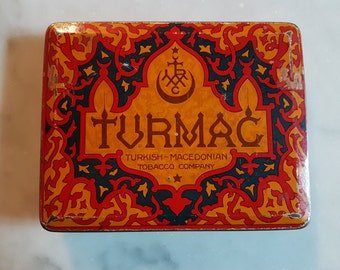 TURMAC Vintage 1920/30s Cigarette tin box -Vintage Collectible lithographic advertising