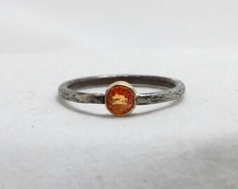 Mandarin Garnet Spessartite 14k Gold Sterling Silver Ring