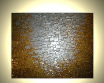 Abstract Silver Painting, Textured Silver Palette Knife Bronze Painting by Lafferty - 24 X 30 - ONE DAY Sale Sale 22% Off