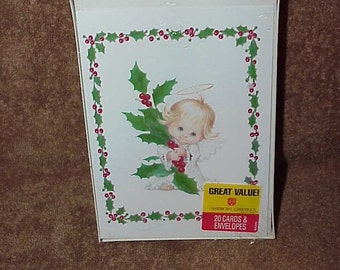 Vintage--Holly Babes--CHRISTMAS Cards--Ruth Morehead--Unused Cards--Box Of 20--American Greetings