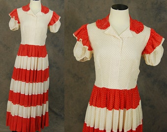 vintage 30s Maxi Dress - 1930s Red and White Swiss Dot Gown 1930s Sheer Cotton Gauze Dress AS IS Sz S