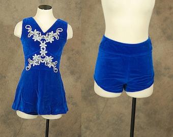 vintage 50s 60s Skating Costume - Blue Velvet Mini Dress and Tap Pants - 1950s 1960s Cheer Leader Showgirl Dance Costume Sz S
